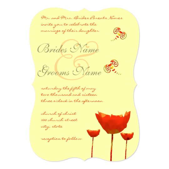 Coral & Grey Poppies Butterfly Wedding Invitation