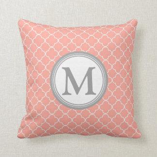 Coral Grey Quatrefoil Monogram Decorative Pillow