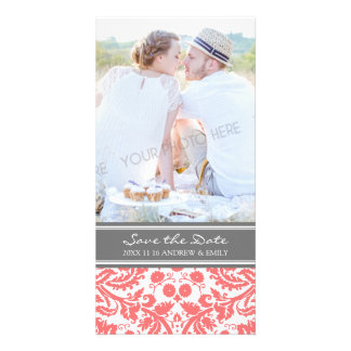 Coral Grey Save the Date Wedding Photo Cards