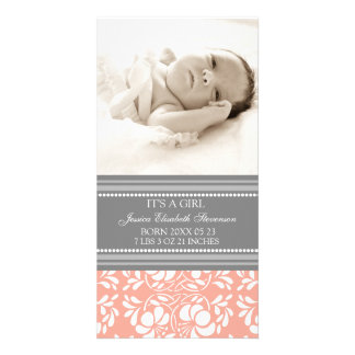 Coral Grey Template New Baby Birth Announcement Picture Card