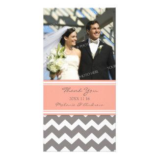 Coral Grey Thank You Wedding Photo Cards