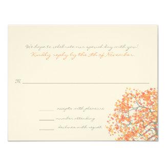 Coral Grey Tree Monogram Response Card