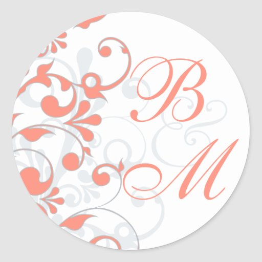Coral, Grey, White Abstract Floral Envelope Seal Round Stickers