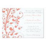 Coral, Grey, & White Floral Wedding Invitation 13 Cm X 18 Cm Invitation Card