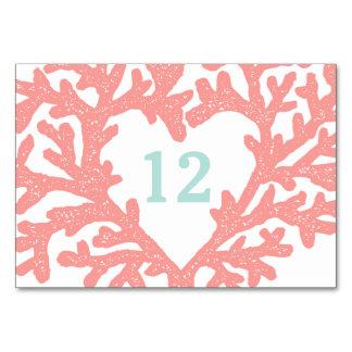 Coral Heart Aqua Beach Wedding Table Numbers