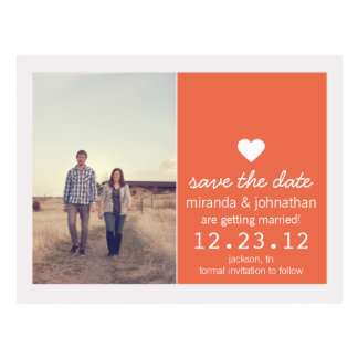 Coral Heart Photo Save The Date Post Cards