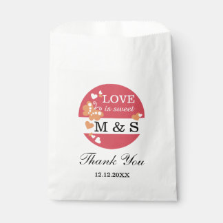 Coral Hearts And Butterflies|Monogram Party Goody Favour Bags