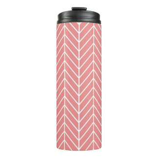 Coral Herringbone Chevron Pattern Thermal Tumbler