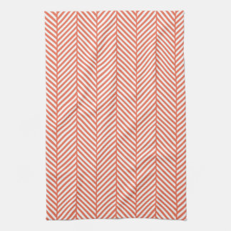 Coral Herringbone Kitchen Towels
