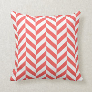Coral Herringbone Print Throw Pillow