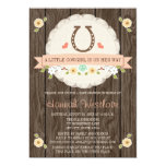 CORAL HORSESHOE WESTERN COWGIRL BABY SHOWER 13 CM X 18 CM INVITATION CARD
