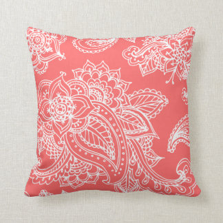 Coral Illustrated Bohemian Paisley Henna Cushion