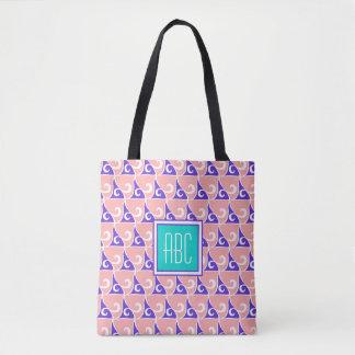 Coral & Indigo Fin Pattern Monogram Tote Bag