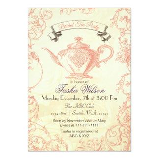 Coral Ivory Roses vintage Bridal Tea Invites