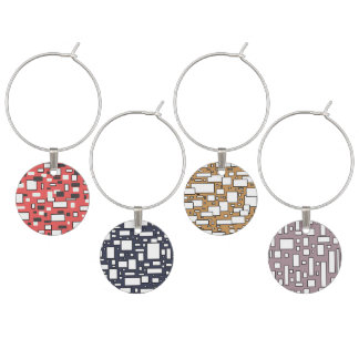 Coral lavendar grey white geometric wine charms