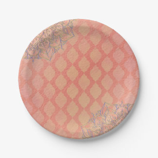 Coral Lavender Gold Moroccan Arabian Wedding Paper Plate