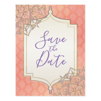 Coral Lavender Gold Moroccan Glam Save the Date Postcard