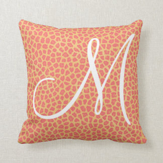 Coral Leopard Print Monogram Cushion
