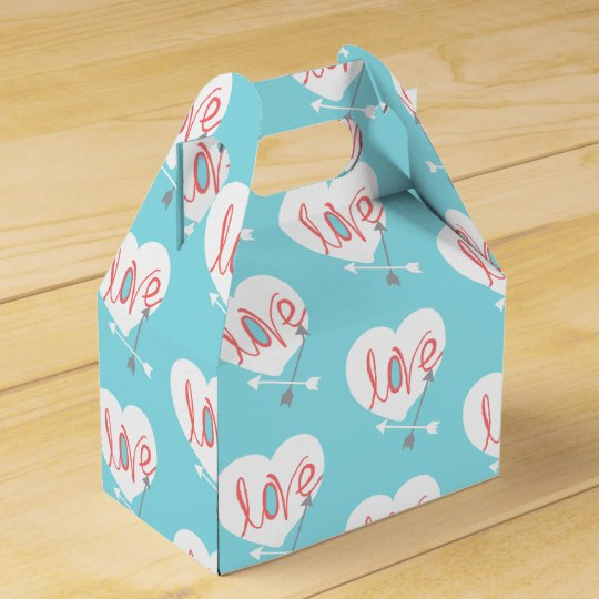 Coral Love Heart Arrows Funky Gift Favour Box