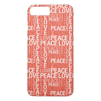 Coral Love Peace Typography iPhone 7 Plus Case