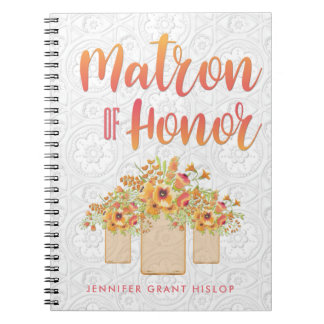 Coral Mason Jar Floral Matron of Honor Spiral Notebooks