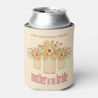 Coral Mason Jar Floral Mother of the Bride Can Cooler