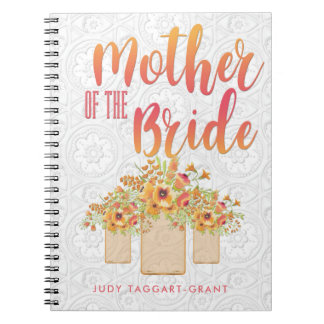 Coral Mason Jar Floral Mother of the Bride Notebook