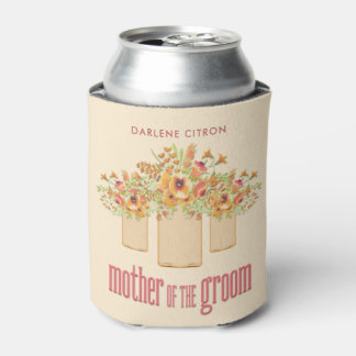 Coral Mason Jar Floral Mother of the Groom Can Cooler