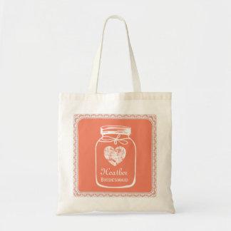 Coral Mason Jar Wedding Tote Bag BRIDESMAID A07