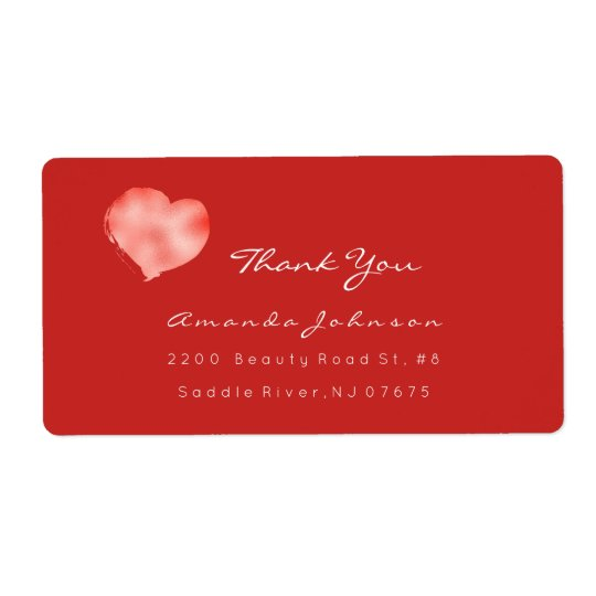 Coral Metallic Red White Painted Heart Thank You Shipping Label