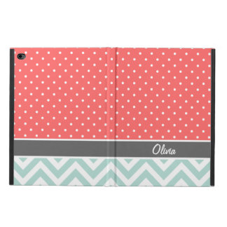 Coral Mint and Gray Chevron Dots Monogram