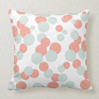 Coral & Mint Bubbles Confetti Pattern Throw Pillow