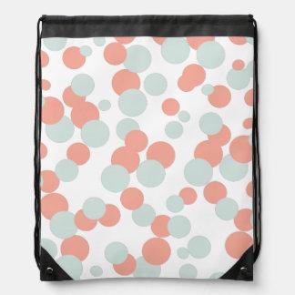 Coral & Mint Bubbles Pattern Drawstring Bag