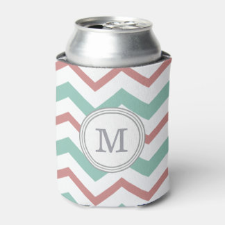 Coral & Mint Chevron Can Holder Can Cooler