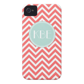 Coral & Mint Chevron Custom Monogram iPhone 4 Case-Mate Case