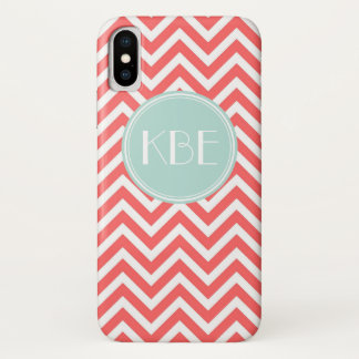 Coral & Mint Chevron Custom Monogram iPhone X Case