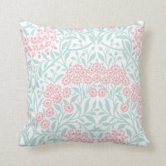 Coral Mint Floral Damask Pattern Cushion