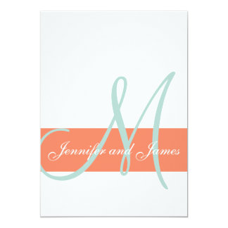 Coral Mint Green Monogram Names Simple Wedding Card