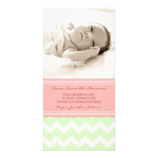 Coral Mint Thank You Baby Shower Photo Cards