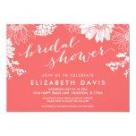 Coral Modern Floral Bridal Shower Custom Invite