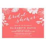 Coral Modern Floral Bridal Shower Custom Announcements