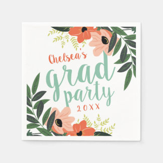 Coral Modern Floral Personalized Grad Party Disposable Serviette