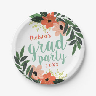 Coral Modern Floral Personalized Grad Party Paper Plate