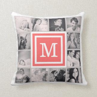 Coral Monogram Instagram Photo Collage Throw Pillow