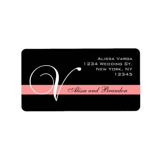 Coral Monogram V Wedding RSVP Returns Address Label