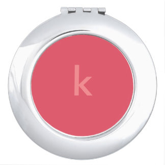 Coral Monogrammed Compact Mirror