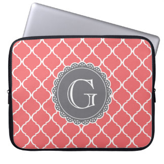Coral Moroccan Lattice Pattern Grey Monogram Laptop Computer Sleeves