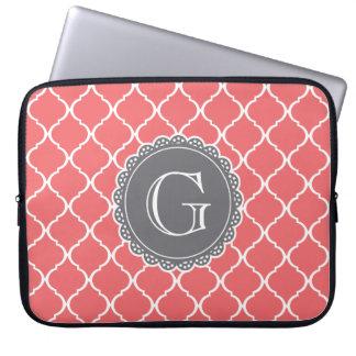 Coral Moroccan Lattice Pattern Grey Monogram Laptop Sleeve