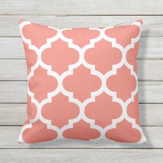 Coral Moroccan Quatrefoil Outdoor Pillows Cushion