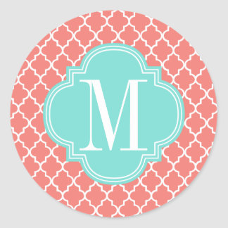 Coral Moroccan Tiles Lattice Personalized Classic Round Sticker